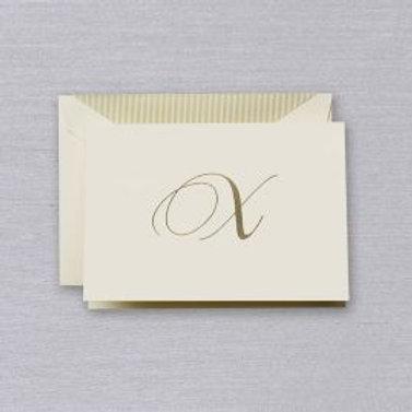 "Crane Engraved Script ""X"" Initial Note"