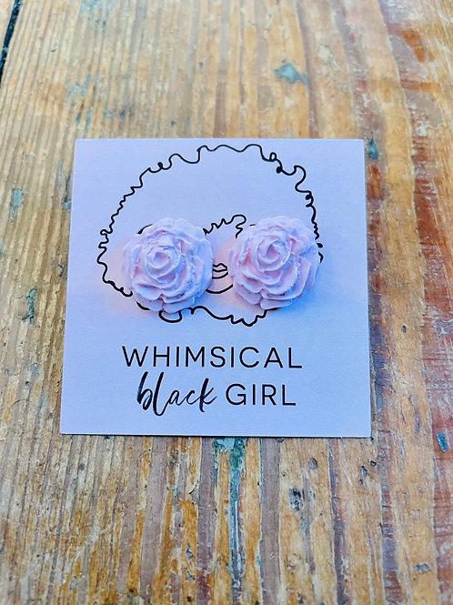 Whimsical Black Girl Light Pink Rose Studs