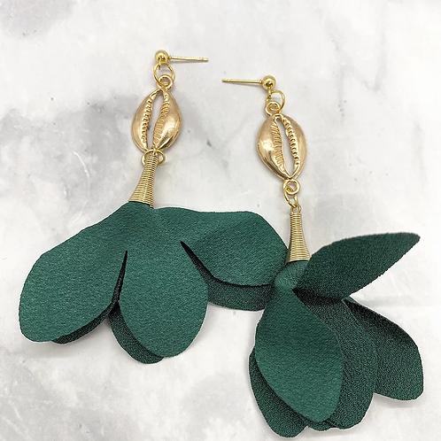 Whimsical Black Girl Forest Green Trumpet Earrings