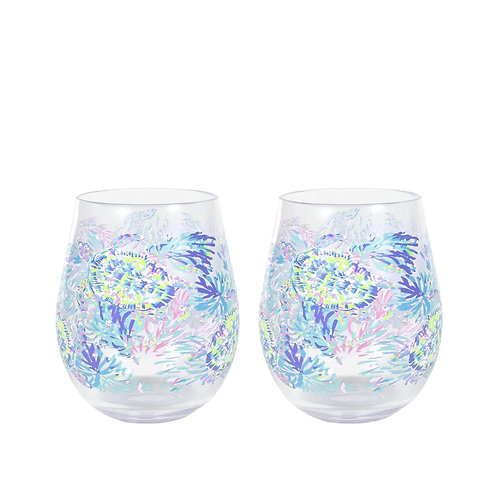 lilly pulitzer acrylic wine glass set, shell of a party
