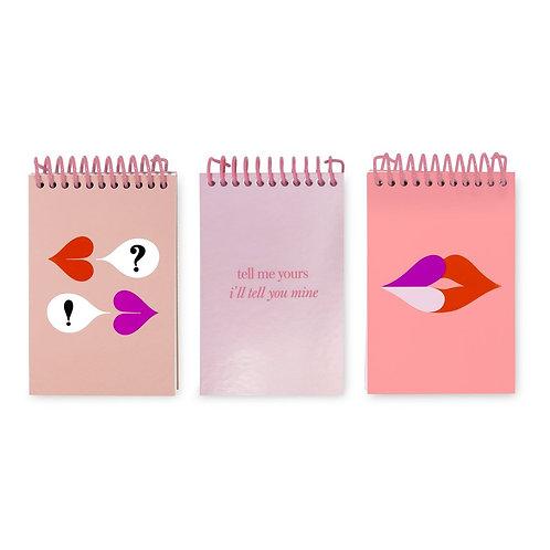kate spade new york spiral notepad set, heart lips