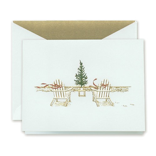 Crane Engraved Seaside Christmas Boxed Holiday Greeting Cards