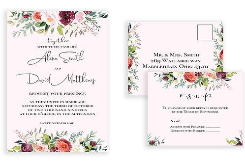 Pink Floral Ensemble Invite