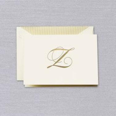 "Crane Engraved Script ""Z"" Initial Note"