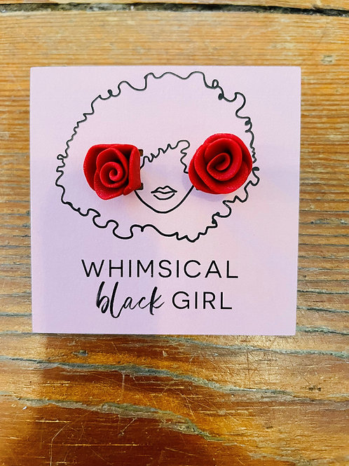 Whimsical Black Girl Red Rose Studs
