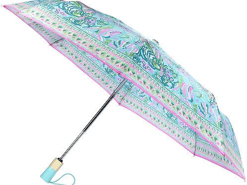 lilly pulitzer travel umbrella, aqua la vista