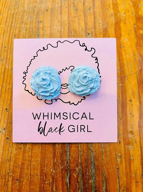 Whimsical Black Girl Light Blue Rose Studs