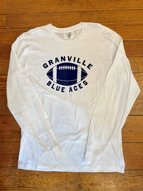 Discontinued 587 White and Navy  Blue Aces Football Long Sleeve