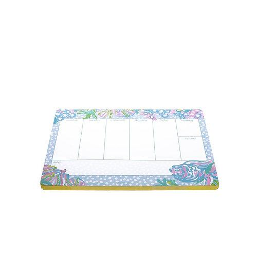 lilly pulitzer weekly desk pad, aqua la vista