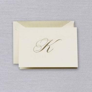 "Crane Engraved Script ""K"" Initial Note"