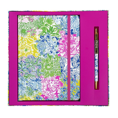 lilly pulitzer journal with pen, cheek to cheek