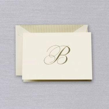 "Crane Engraved Script ""B"" Initial Note"