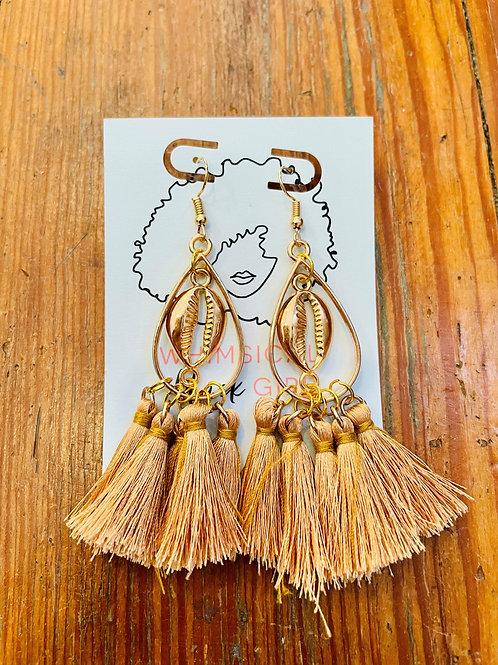 Whimsical Black Girl Gold Shell Tassel Earrings