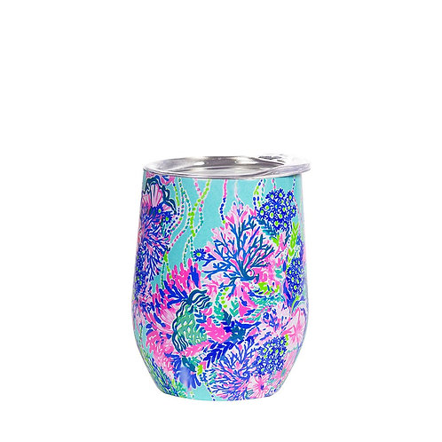 lilly pulitzer stainless steel wine glass with lid, beach you to it