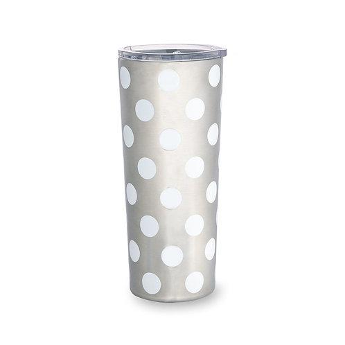 Kate Spade New York stainless steel 24oz tumbler, white dot