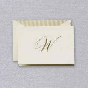 "Crane Engraved Script ""W"" Initial Note"