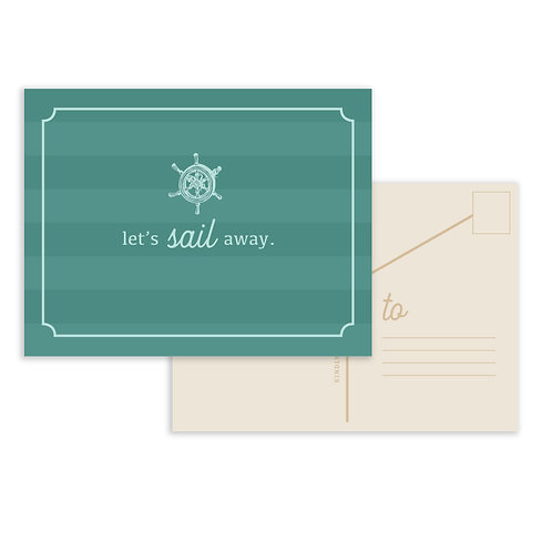 Message In A Bottle: Sail Postcard