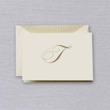 "Crane Engraved Script ""T"" Initial Note"