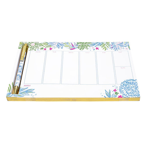 lilly pulitzer weekly list pad with pen, cheek to cheek