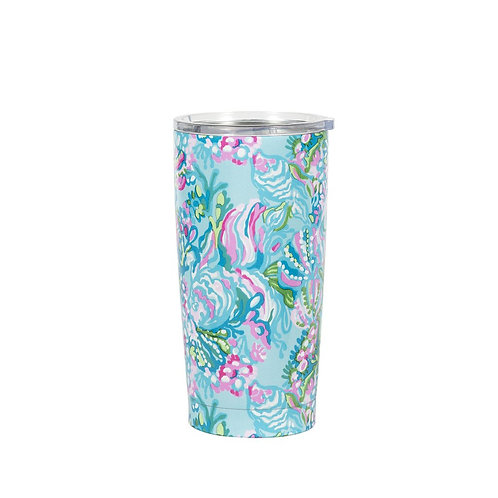 lilly pulitzer stainless steel thermal mug, aqua la vista