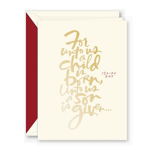 Crane Foil Isaiah 9:6-7 Boxed Holiday Greeting Cards