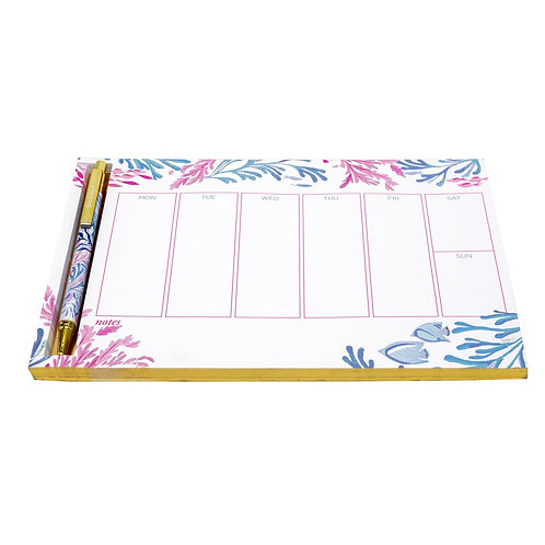 lilly pulitzer weekly desk pad with pen, kaleidoscope coral