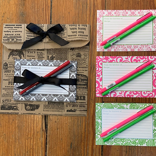 Set of 10 Recipe Cards and 2 Le Pens
