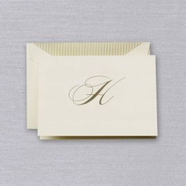 "Crane Engraved Script ""H"" Initial Note"