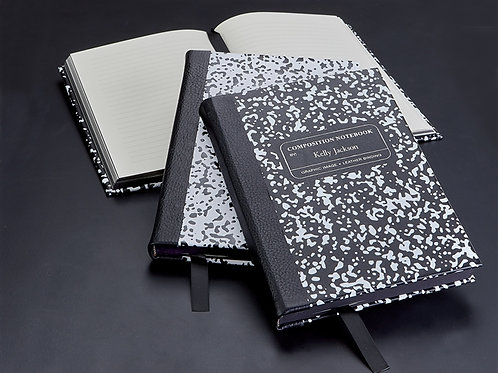 Composition Notebook White/Black Leather - MNB-BND