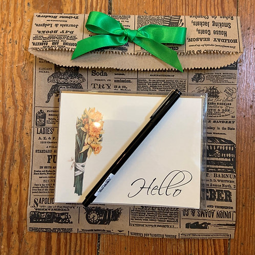 Hello Notecards and Envelopes with Black Le Pen