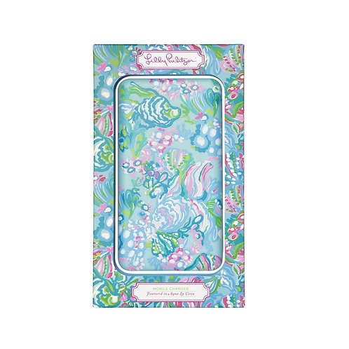 lilly pulitzer mobile charger, aqua la vista