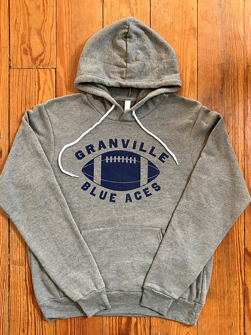 Gray Granville Blue Ace Football Hoodie