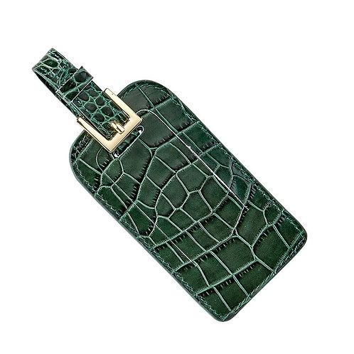 Luggage Tag - Crocodile Embossed Leather