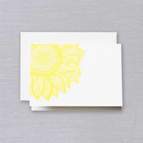 Letterpress Sunflower Note