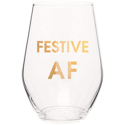 Festive AF Wine Glass