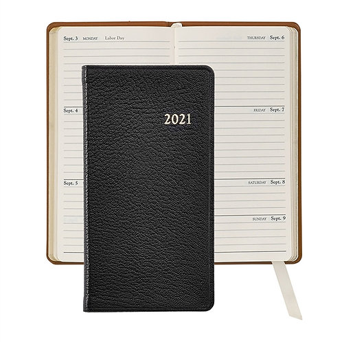 "2021 6"" Pocket Datebook  Goatskin Leather - PJ6-GTI"