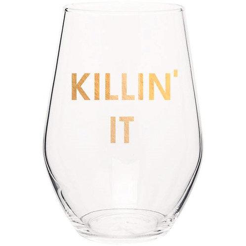 KILLIN IT- GOLD FOIL STEMLESS WINE GLASS