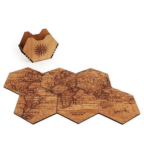 Woodchuck World Map Wood Coasters