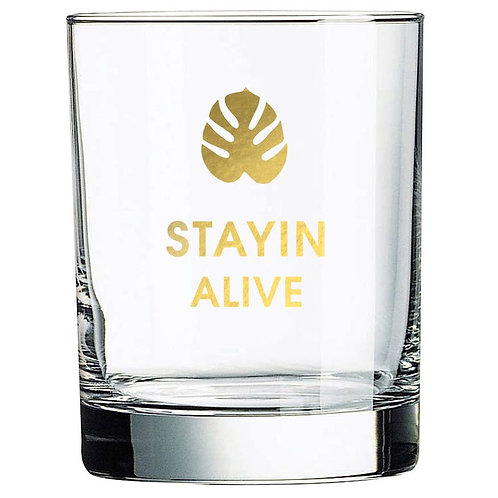 STAYIN ALIVE - MONSTERA LEAF ROCKS GLASS
