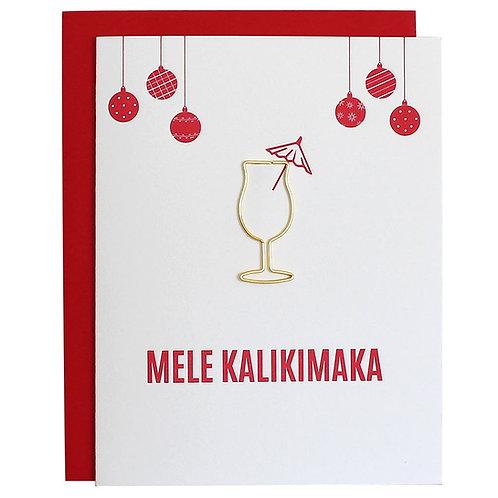 Mele Kalikimaka Paper Clip Letter Press Card