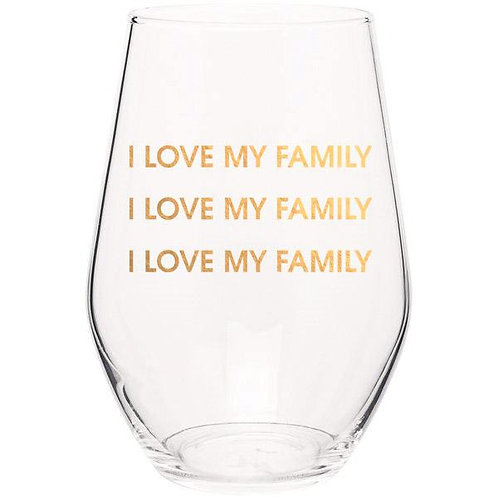 I Love My Family Wine Glass
