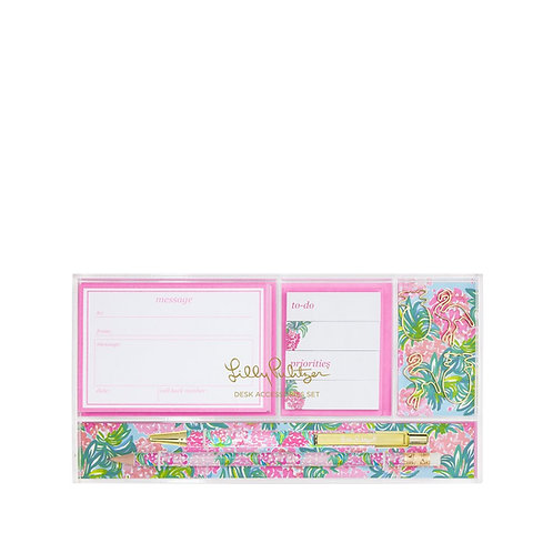 lilly pulitzer desk accessories set, pineapple shake