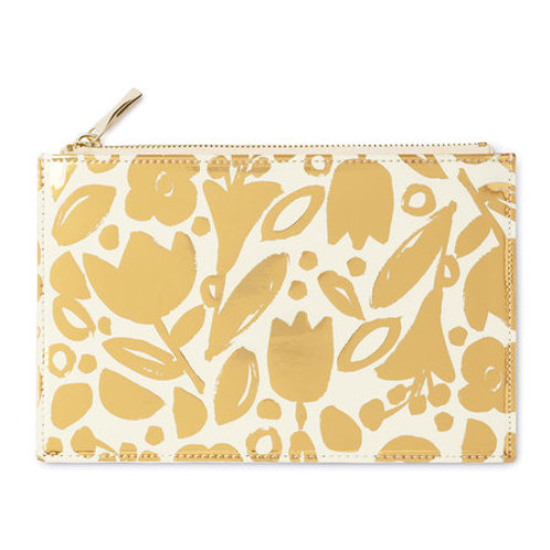 Kate Spade Gold Flower Pencil Pouch