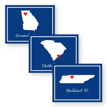 Navy State Map Foldover Notecards