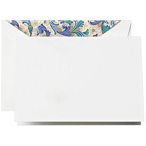 Crane Blue Florentine Notes on Pearl White Kid Finish Paper - CF1503