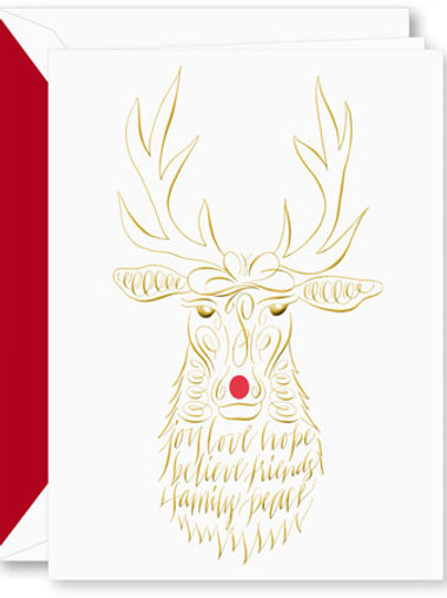 Crane Engraved Calligraphic Reindeer Boxed Holiday Greeting Cards
