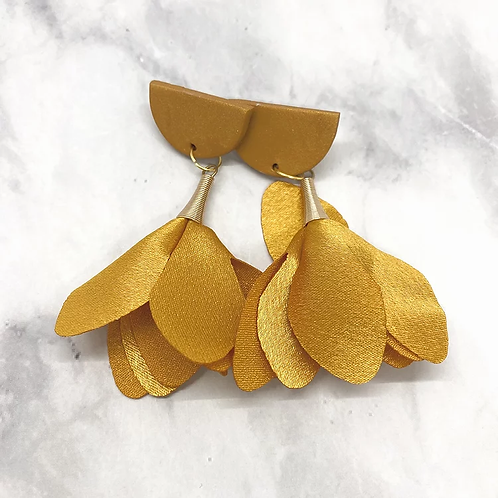 Whimsical Black Girl Gold Trumpet Earrings