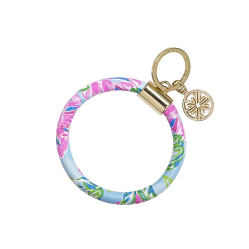 lilly pulitzer round keychain, totally blossom
