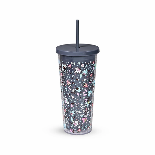 Vera Bradley Double Wall Tumbler with Straw