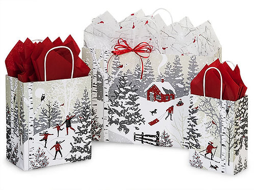 Large Winter Snow Day Gift Bag and Tissue